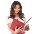 Cute business woman with a book Royalty Free Stock Images