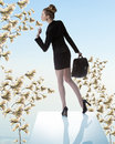 Cute business woman with money tree near blonde elegant hair style formal suit and bag turned on her back on trampiline and Royalty Free Stock Images