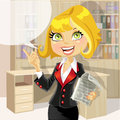 Cute business woman in office with speech bubble Royalty Free Stock Image