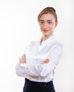 Cute business woman smiling for your advertisement Royalty Free Stock Photography