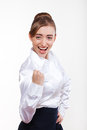 Cute business woman smiling for your advertisement Stock Photo