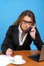 Cute business woman talking phone Stock Images