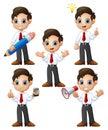 Cute businessman cartoon set