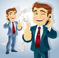 Cute businessman reported good news on the phone a Royalty Free Stock Photo