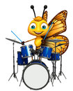 Cute butterfly cartoon character with drum d rendered illustration of Royalty Free Stock Photo