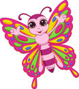 Cute butterfly cartoon illustration of Stock Photo