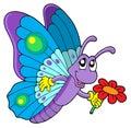 Roztomilý motýľ držanie kvetina
