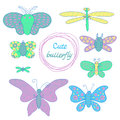 Cute butterfly set in the style of the cartoon vector illustration Stock Photo