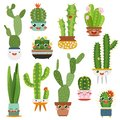 Cute cactus pots. Happy face cartoon succulent cacti funny flower smile plant lovely friends, desert garden cactuses