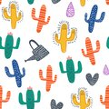 Cute cactus seamless pattern with colorful nursery background for fashion textile wrapping and print. Vector illustration hand