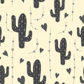 Cute cactus seamless pattern with hearts in grey color. Natural vector background
