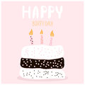 Cute cake with happy birthday wish. Greeting card template. Creative happy birthday background. Vector Illustration.
