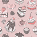 Cute cake seamless background pattern multicolored vector Stock Photo