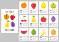 Cute 2018 calendar pages with smiling fruit characters and retro hand written thin font Royalty Free Stock Photo
