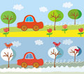 Cute car on the road in the summer or spring and w Royalty Free Stock Photo