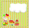 Cute card on birthday with colorful kids train vector Stock Image