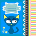 Cute card cartoon kitty Royalty Free Stock Photo