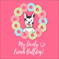 Cute card with french bulldog, donuts and text on a pink background.