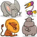 Cute cartoon african animals set Stock Image