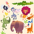 Cute cartoon african animals set. Vector illustrations of crocodile alligator, giraffe, rhino, zebra, ostrich, lion and elephant