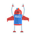 Cute cartoon android policeman character vector Illustration