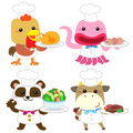 Cute cartoon animal cook collection with white background Stock Photo