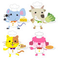 Cute cartoon animal cook collection with white background Royalty Free Stock Image