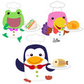 Cute cartoon animal cook collection with white background Stock Images