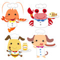 Cute cartoon animal cook collection with white background Stock Image