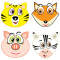 Cute cartoon animal head icons vector illustration Stock Images