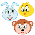 Cute cartoon animal head icons vector illustration Royalty Free Stock Image