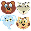 Cute cartoon animal head icons vector illustration Stock Photos