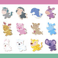 Cute cartoon animal icon set Royalty Free Stock Photo