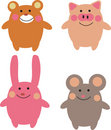 Cute cartoon animals Royalty Free Stock Photo