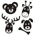 Cute cartoon animals black reindeer bear giraffe dog faces Stock Photography