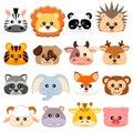 Cute cartoon animals head. Dog, pig, cow, deer, lion, sheep, tiger, panda, raccoon, monkey, fox, zebra, giraffe, elephant, hedgeho