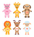 Cute cartoon animals set. Baby animals on a white background. Vector illustration.