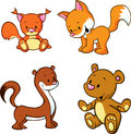 Cute cartoon animals set of fox weasel squirrel and teddy bear on white background Royalty Free Stock Photography