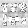 Cute cartoon animals set personages silhouette on ornamental background Royalty Free Stock Photography