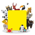 Cute Cartoon animals set toucan deer raccoon horse wolf Bison Penguin starfish crab seal leopard panda polar bear, frame on white