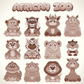 Cute cartoon animals set of vector characters african safari retro colored illustration Stock Photo