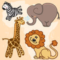 Cute cartoon Baby African Animals. Vector set