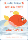 Cute cartoon baby birthday invitation card with sea waves and flame fish. Vector illustration for prints, flyers Royalty Free Stock Photo