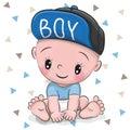 Cute Cartoon Baby boy in a cap