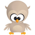 Cute cartoon baby brown owl with huge eyes standing and looking at us Stock Photo