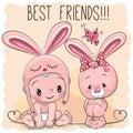 Cute Cartoon Baby and bunny