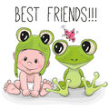 Cute cartoon baby and frog in a froggy hat Stock Images