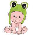 Cute cartoon baby in a froggy hat Royalty Free Stock Photography
