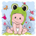 Cute cartoon baby in a froggy hat on the meadow Royalty Free Stock Images