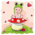 Cute Cartoon Baby in a froggy hat Royalty Free Stock Photo